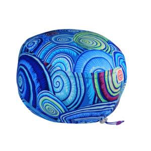Cuffia chirurgica in cotone spirali blu