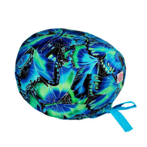 Cuffietta chirurgica in cotone farfalle gioiello blu