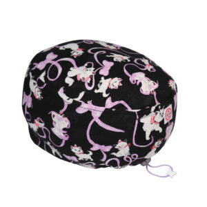 Cuffia chirurgica in cotone Minu' mini con fiocchi lilla su nero