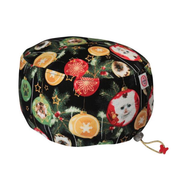 Cuffia chirurgica in cotone Gatti nelle palline natalizie