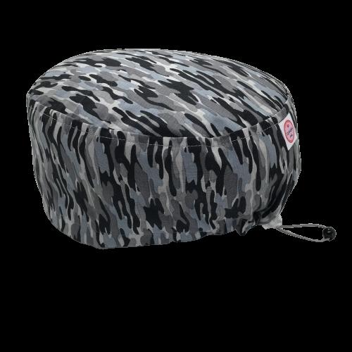 Cuffia chirurgica in cotone Camouflage nero grigio celeste